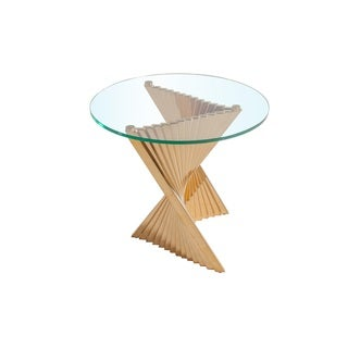 Hans Andersen Home Giancarlo Stainless Steel and Glass End Table