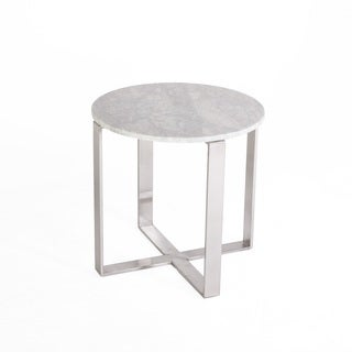 Hans Andersen Home Fabio Brushed Marble/Stainless Steel Side Table