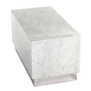 Hans Andersen Home Eira Off-white Marble and Stainless-steel Coffee Table