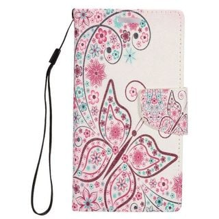 Insten Colorful Butterfly Leather Case Cover Lanyard with Stand/ Wallet Flap Pouch/ Photo Display For Samsung Galaxy S7