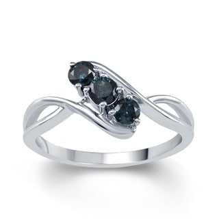 Sterling Silver 1/2ct TDW Blue Diamond 3-stone Ring