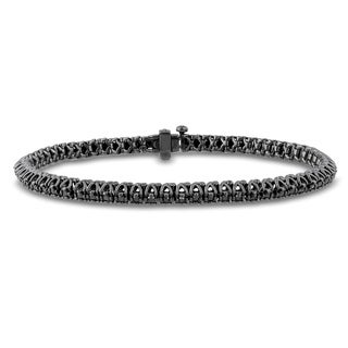 Miadora Black Rhodium Plated Sterling Silver 2ct TDW Black Diamond Tennis Bracelet