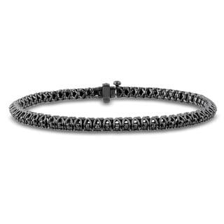 Miadora Black Rhodium Plated Sterling Silver 2ct TDW Black Diamond Tennis Bracelet