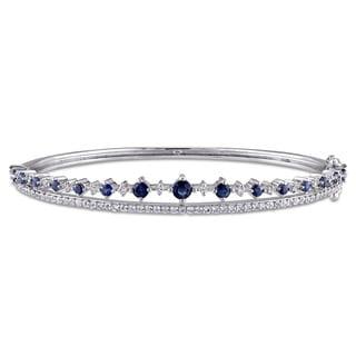 Miadora Sterling Silver Sapphire and White Topaz Split Band Bangle Bracelet