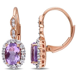 Miadora 14k Rose Gold Oval-cut Amethyst White Topaz and Diamond Accent Halo Leverback Earrings