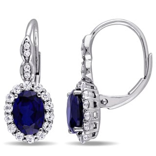 Miadora 14k White Gold Oval-cut Created Blue Sapphire White Topaz and Diamond Accent Halo Leverback Earrings