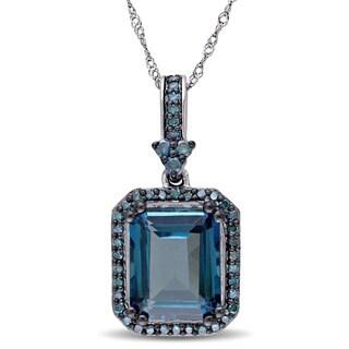 Miadora Signature Collection 14k White Gold Octagon-cut London Blue Topaz and 1/3ct TDW Blue Diamond Drop Halo Necklace (I1-I2)
