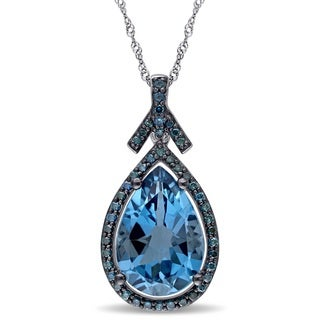 Miadora Signature Collection 14k White Gold Pear-cut London Blue Topaz and 1/3ct TDW Blue Diamond Teardrop Halo Necklace