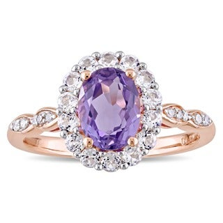 Miadora 14k Rose Gold Oval-cut Amethyst, White Topaz and Diamond Accent Halo Cocktail Ring