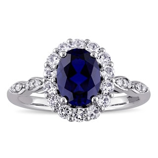 Miadora 14k White Gold Oval-cut Created Blue Sapphire, White Topaz and Diamond Accent Halo Cocktail Ring