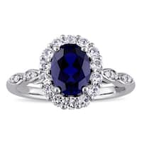 Miadora 14k White Gold Oval-cut Created Blue Sapphire, White Topaz and Diamond Accent Halo Cocktail