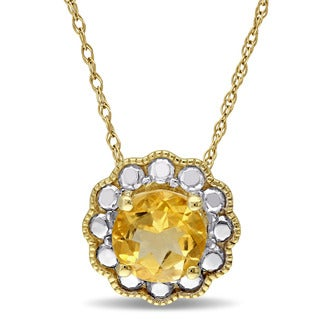 Miadora 10k Yellow Gold Citrine Solitaire Flower Halo Birthstone Drop Necklace