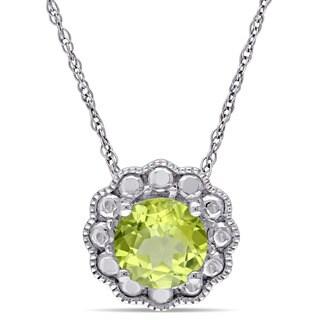 Miadora 10k White Gold Peridot Solitaire Flower Halo Birthstone Drop Necklace