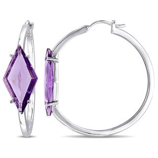 V1969 ITALIA Amethyst Prism Hoop Earrings in Sterling Silver