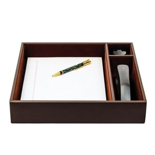 Dacasso Chocolate Brown Leather 12.75-inch x 12.63-inch x 2.37-inch Conference Room Organizer Tray - CHOCOLATE BROWN