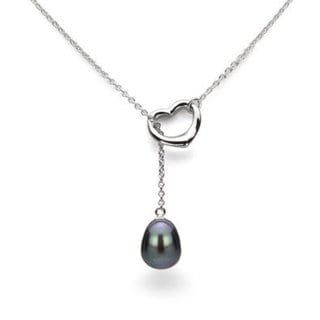 """DaVonna Sterling Silver Chain 9-10mm Black Freshwater Pearl Open-Heart Pendant Y Necklace 18"""""""