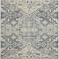 Safavieh Handmade Restoration Vintage Charcoal/ Ivory Wool Distressed Rug - 6' Square