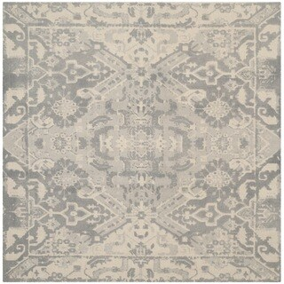 Safavieh Handmade Restoration Vintage Light Grey / Ivory Wool Distressed Rug (6' Square)