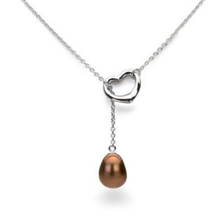 DaVonna Sterling Silver Chain 9-10mm Brown Freshwater Pearl Open-Heart Pendant Y Necklace 18