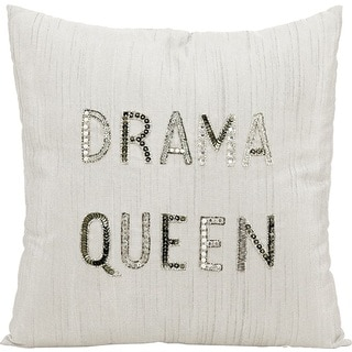 Mina Victory Luminescence 18-inch Drama Queen White Throw Pillow by Nourison