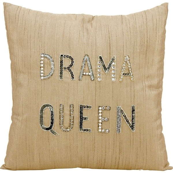 Mina Victory LuminescenceDrama Queen Champagne Throw Pillow by Nourison (18-Inch X 18-Inch)