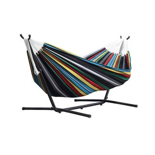 vivere multicolor cotton  bo double indoor outdoor hammock with 9 foot stand   9 prime garden 9 foot double hammock with space saving steel hammock      rh   overstock