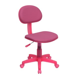 Eracle Pink Fabric Armless Swivel Adjustable Ergonomic Office Chair