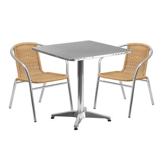 27.5-inch Square Aluminum Indoor-Outdoor Table with 2 Rattan Chairs