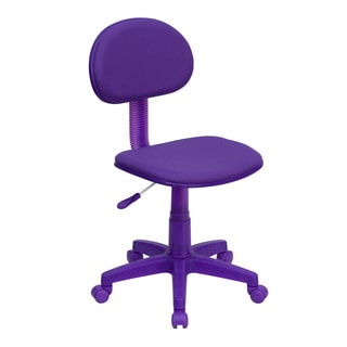 Eracle Purple Fabric/Metal/Nylon Armless Ergonomic Swivel Adjustable Office Chair