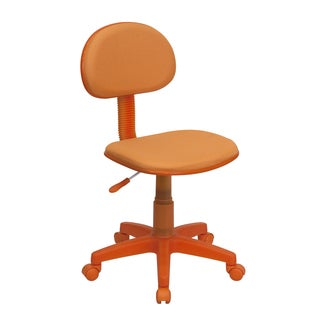 Eracle Orange Fabric Armless Ergonomic Swivel Adjustable Office Chair