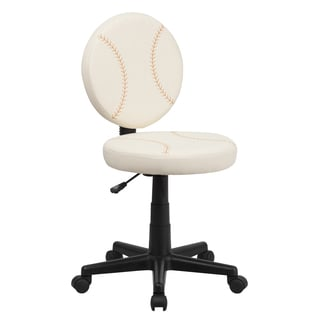 Baseball-design Armless Swivel Adjustable Office Chair