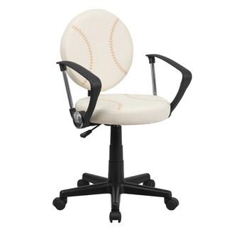 Cream/Brown Faux-leather/Metak Baseball-design Swivel Adjustable Office Chair