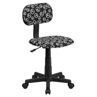 Black Fabric/Metal Armless Swivel Adjustable Peace Sign Office Desk Chair