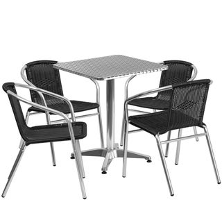 23.5-inch Square Aluminum Indoor-Outdoor Table with 4 Rattan Chairs