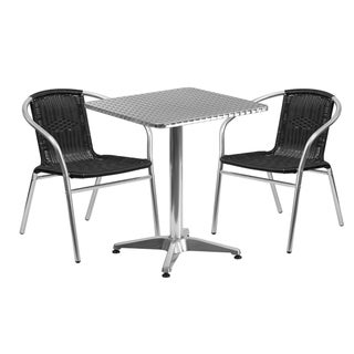 23.5-inch Square Aluminum Indoor-Outdoor Table with 2 Rattan Chairs