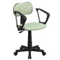 Zebra Print Design Green Swivel Adjustable Office Chair