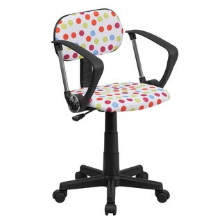 Multicolored Fabric/Metal Dot-design Swivel Adjustable Office Chair