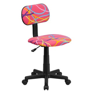 Multicolor/Pink Fabric/Metal/Nylon Swirl Design Armless Swivel Adjustable Office Chair