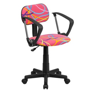 Multicolor/Pink Fabric/Metal/Nylon Swirl Design Swivel Adjustable Office Chair