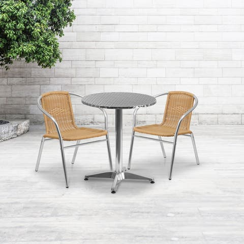 23.5'' Round Aluminum Indoor-Outdoor Table Set with 2 Rattan Chairs