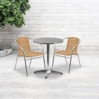 23.5-inch Round Aluminum Indoor-Outdoor Table with 2 Beige Rattan Chairs
