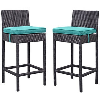 Journey Faux Rattan Outdoor Patio Bar Stool (Set of 2)