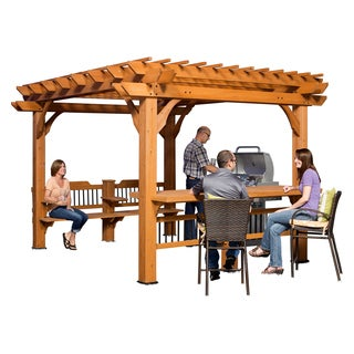 Backyard Discovery Oasis Brown Cedar 12-foot x 10-foot Pergola