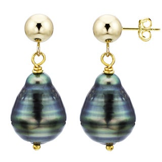 DaVonna 14k Yellow Gold 8-10mm Off-shape Black Tahitian High Luster Pearl Stud Dangle Earrings