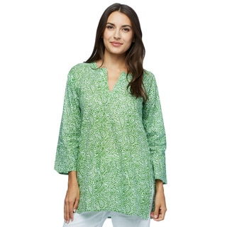Moksha Imports Women's Green With Envy! White/Green Cotton Made-in-India Tunic