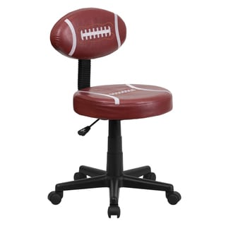 Faux-leather Football-design Armless Swivel Adjustable Office Chair