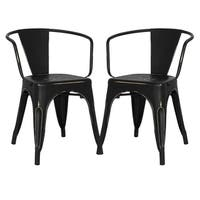 Poly and Bark Trattoria Distressed Finish Metal Dining Arm Chair (Set of 2)
