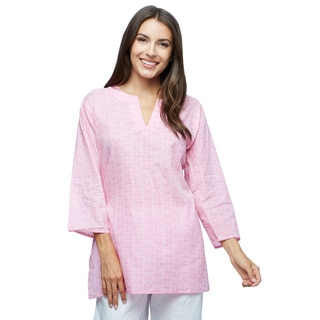 Handmade Baby Pink Pattern Cotton Tunic (India)