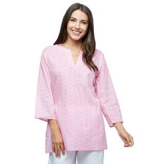 Handmade Baby Pink Pattern Cotton Tunic (India)