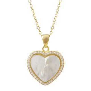 Luxiro Gold Finish Sterling Silver Mother of Pearl and Cubic Zirconia Heart Pendant Necklace